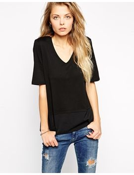 asos-v-neck-shell-t-shirt-with-chiffon-hem by asos-collection