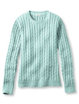 double-l®-cotton-sweater,-cable-crewneck by llbean