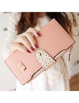 new-2014-women-wallets-color-block-dot-bow-womens-long-design-female-magic-wallet-womens-designer-wallets-clutch-purses-a005 by ali-express