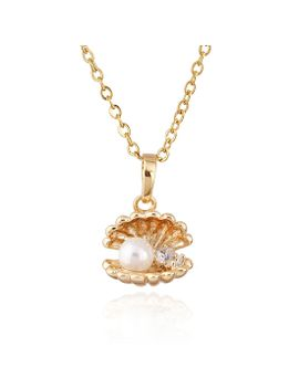 new-style-18k-gold&18k-white-gold-plated-cute-shell-with-imitation-pearls-necklaces&pendants-for-women by ali-express