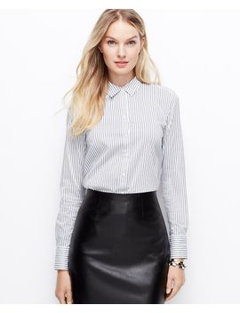 petite-stripe-perfect-shirt by ann-taylor
