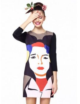 multicolour-shift-dress-with-woman-face-pattern by choies