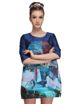 3d-parrot-print-half-sleeve-dress by choies