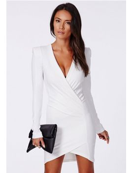 amaline-cross-over-tailored-dress-in-white by missguided