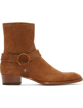 brown-suede-wyatt-biker-boots by saint-laurent