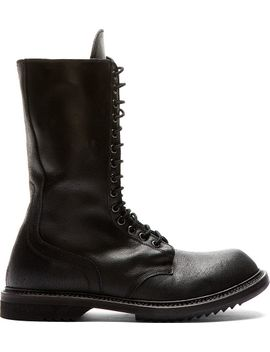 black-leather-distressed-army-boots by rick-owens
