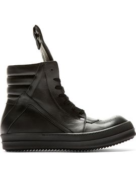 black-leather-geobasket-high-top-sneakers by rick-owens
