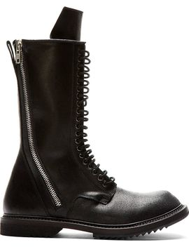 black-leather-double-zip-boots by rick-owens