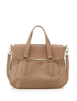 faux-leather-flap-satchel-bag,-tan by danielle-nicole