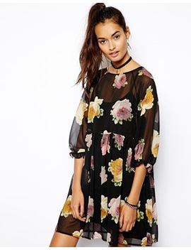 asos-smock-dress-in-autumn-floral-print by asos-collection