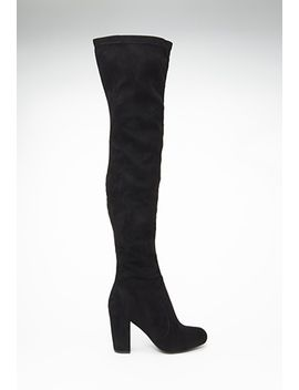 faux-suede-over-the-knee-boots by forever-21