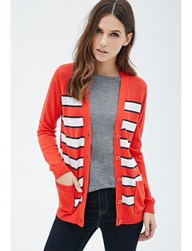 striped-v-neck-cardigan by forever-21