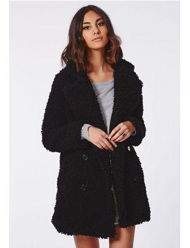celine-teddy-faux-fur-coat-black by missguided