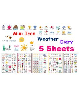weather-sticker-diary-icon-sticker-daily-life-mini-icon-sunny-rainy-day-windy-snow-man-happy-simple-life-label-sticker-diet-planner-icon by stickerskingdom
