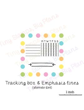 planner-stamps---mini-tracking-box-and-emphasis-lines-v11---alternate-font-version by tinystampsbigplans