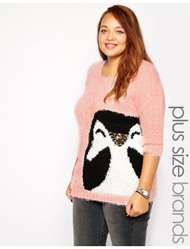 new-look-inspire-pink-penguin-holidays-sweater by new-look-inspire