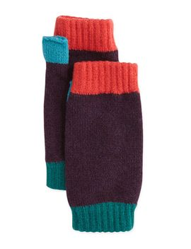 colorblock-cashmere-wrist-warmers,-plum by brora
