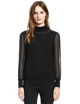 janice-silk-georgette-sleeve-turtleneck-sweater by tory-burch