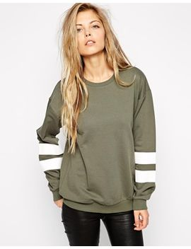 asos-boyfriend-sweat-with-stripe-sleeve by asos-collection