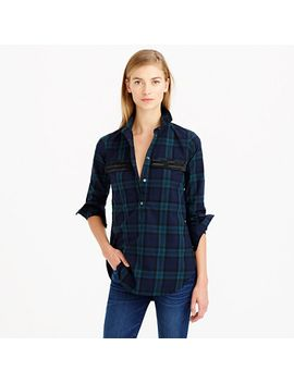 beaded-chevron-popover-shirt-in-black-watch-plaid by jcrew