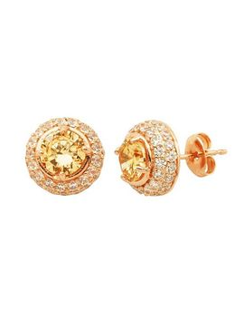 champagne-&-white-cubic-zirconia-18k-rose-gold-over-silver-halo-stud-earrings by kohls
