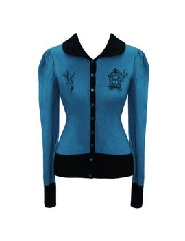 banned-blue-knitted-bird-cage-vintage-50s-cardigan-top by ebay-seller