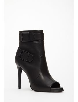 buckled-peep-toe-booties by forever-21