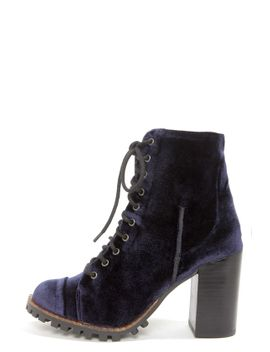 report-signature-allon-navy-blue-velvet-high-heel-booties by report
