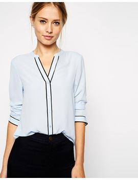asos-long-sleeve-blouse-with-contrast-piping by asos-collection