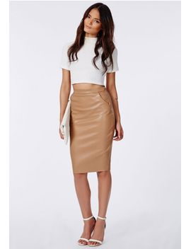 mariota-faux-leather-pencil-skirt-camel by missguided