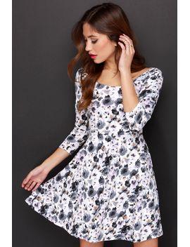 very-impressed-grey-floral-print-dress by lulus