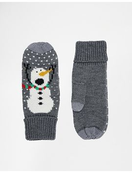 asos-christmas-snowman-mittens-with-touch-screen-detail by asos-collection