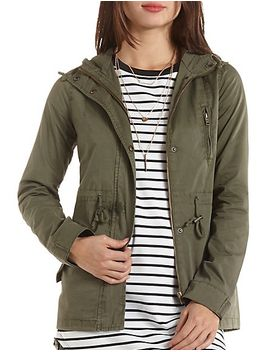 drawstring-hooded-anorak by charlotte-russe
