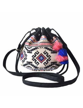 hoxis-totem-bohemian-patterned-canvas-drawstring-mini-bucket-shoulder-bag-satchel by hoxis