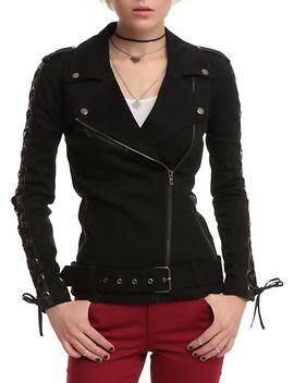 joan-jett-tripp-nyc-black-twill-moto-jacket by hot-topic