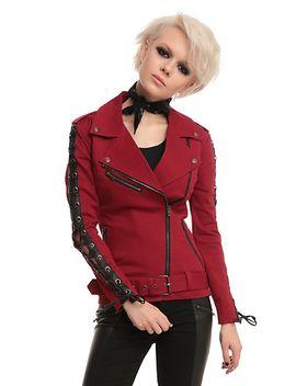joan-jett-tripp-nyc-red-twill-moto-jacket by hot-topic