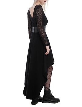 royal-bones-by-tripp-black-lace-sleeve-hi-lo-dress by hot-topic