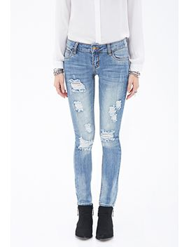 slim-distressed-low-rise-jeans by forever-21