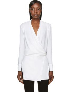 white-morse-drape-fold-blouse by helmut-lang