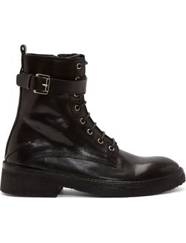 black-leather-buckle-combat-boots by costume-national