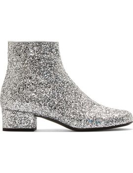 silver-glittered-galaxi-ankle-boots by saint-laurent