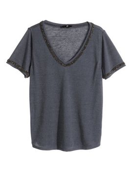 beaded-jersey-top by h&m