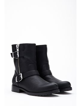 faux-leather-moto-booties by forever-21