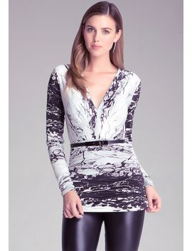 print-belted-tunic by bebe