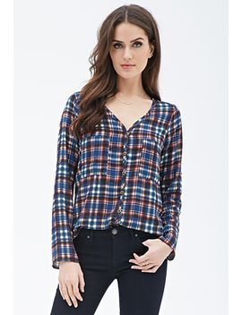 contemporary-plaid-surplice-blouse by forever-21