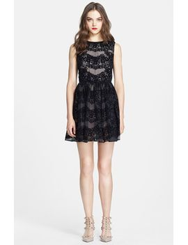 flocked-silk-fit-&-flare-dress by red-valentino