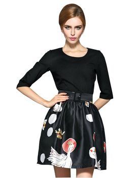 face-n-face-womens-goose-print-splice-bottom-dress-9228,black,large by face-n-face
