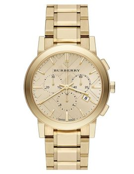 check-stamped-chronograph-bracelet-watch,-38mm by burberry