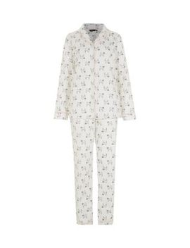 cream-pug-print-pyjama-set by new-look