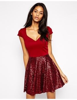 asos-sequin-full-skater-dress by asos-collection